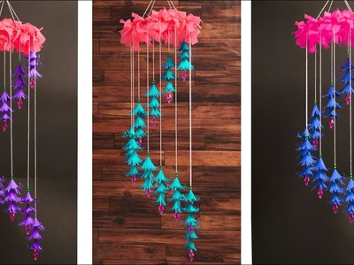DIY Wind Chime with Beautiful Paper Flowers | Wall Hanging.Paper Craft