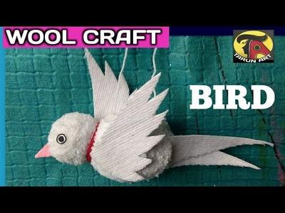 Easy woolen craft.  How to make a bird with Wool. Woolen craft for bird.