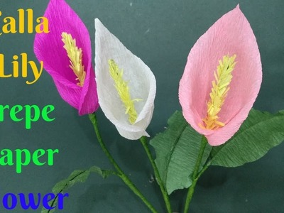 How To Make Calla Lily Flower With Crepe Paper | Diy Calla Lily Crepe Paper Flower Making Tutorials