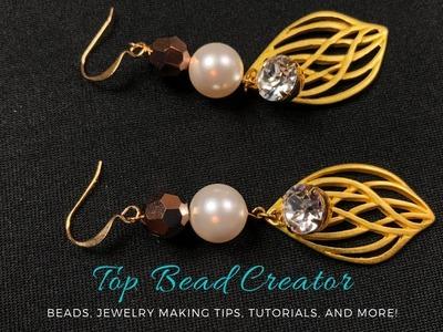How to make Earrings, DIY Jewelry tutorial, Leaf shape pearl links earrings