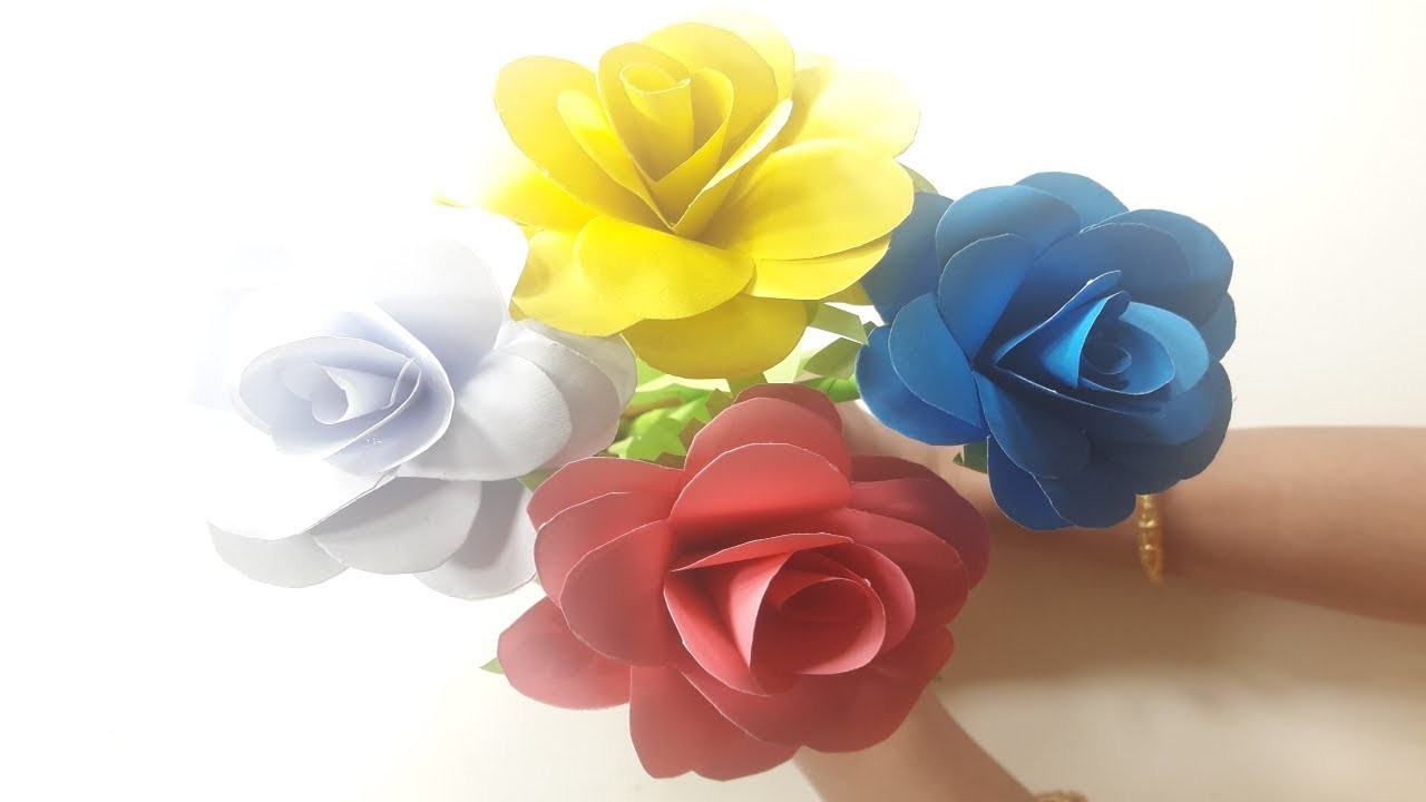 How To Make Rose With Paper – Easy Rose Paper Flowers   DIY Paper Rose