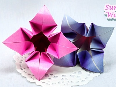Origami Flower, Lily (How to make a paper flower, DIY, Tutorial)