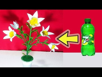 Artificial Flower tree from Plastic bottle and Art paper Plastic bottle craft ideas Artificial tree