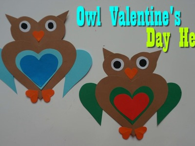 Craft paper  Owl Valentine's Day Hearts for kids