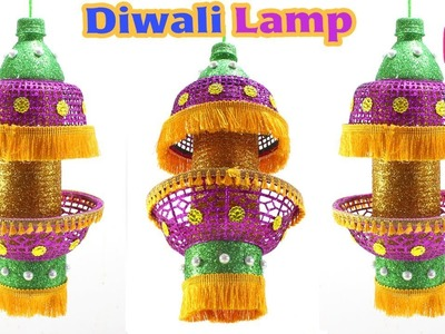 Diwali AKASH Kandil from Waste Basket & Bottle   Diwali Craft Idea By Sonali's Creations