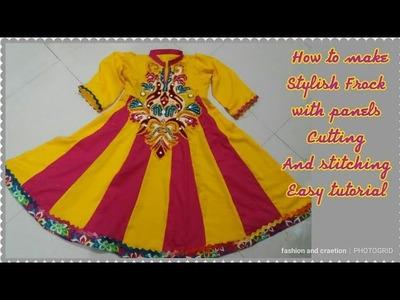 DIY-Anarkali designer frock.anarkali dress design cutting and stitching full tutorial