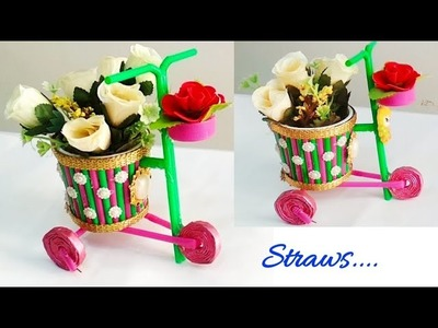 DIY Bicycle craft using straws.Best out of waste bicycle craft idea