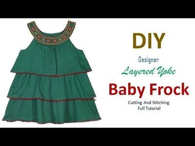 DIY Designer Layered Yoke Baby Frock Cutting And Stitching Tutorial