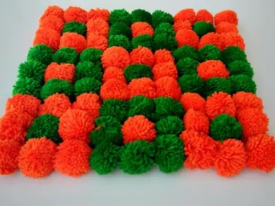 DIY DOORMAT CRAFT MAKING FROM POM POM WITH WOOLEN || TUTORIAL WOOLEN DOORMAT CRAFT MAKING AT HOME ||
