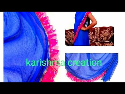 Diy-how to make RUFFLEd saree at home.old saree convert into freel saree.trendy saree 2018.