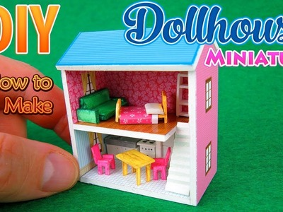 DIY Miniature Dollhouse with Furniture | No Polymer Clay