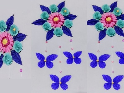 DIY: paper flower wall hanging   Wall Decoration  diy art and craft.Easy 5- minute crafts ideas