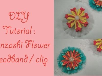 DIY Tutorial Kanzashi Flower Headband or Hair clip. tutorial bandana atau jepit bunga kanzashi