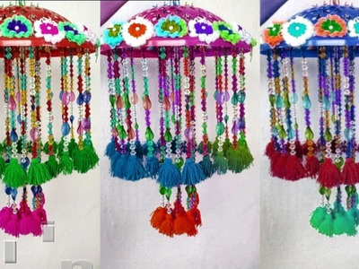 DIY Woolen Jhumar.Wool Chandelier.Wool Wind Chime.craft idea out of wool