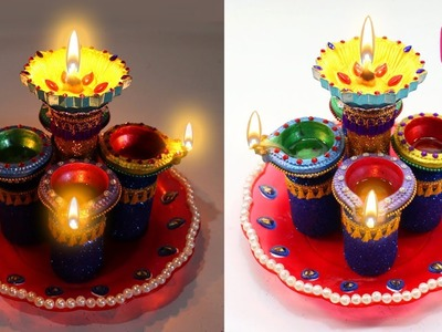 Bottles Diya Stand From Medicine Bottles Diwali Craft Idea