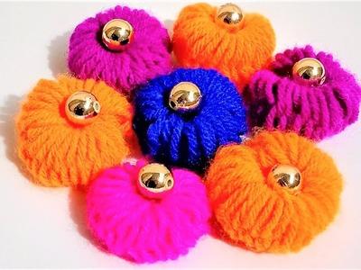Easy Hand Embroidery Trick Of Making Woolen Flower | Woolen Craft