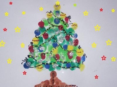 Glitter Christmas Tree - Finger Print Art For Kids, Easy Christmas Tree Craft