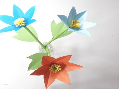 How to Make Beautiful Eye Catching Flower With Color Paper   DIY Paper Flower Making Tutorial