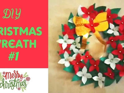 How to make Christmas Wreath with Cardboard & Paper, DIY Holiday Craft # 1