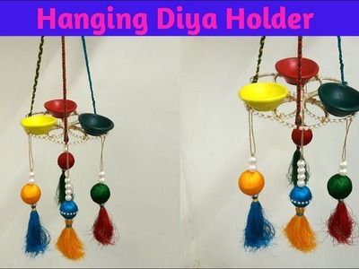 How to make Hanging Diya Holder. Diwali craft. Diwali home decor