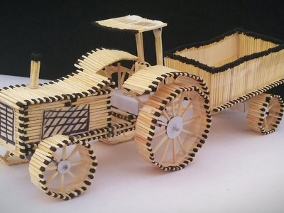 How to make Tractor trolley, Matchstick art and craft, tractor trolley by mind wise