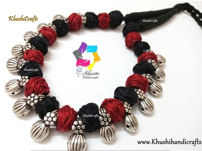 Latest trendy oxidised silver necklace set idea with Kolhapuri Beads |DIY Jewellery Making tutorial