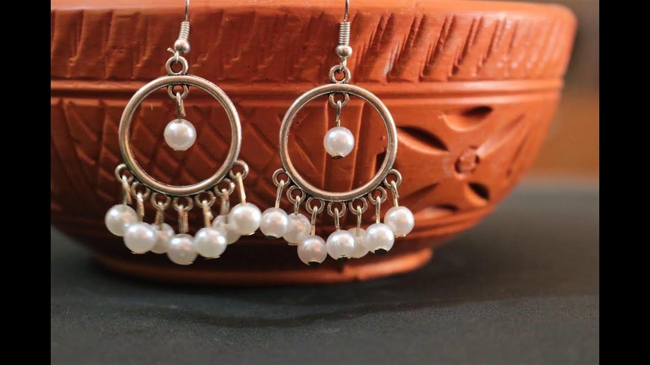Making pearl with antique earrings| DIY easy pearl earrings | DIY earring tutorials | Nelufa crafts