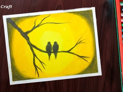 Oil Pastel Drawing: Romantic Couple Birds Step by Step by Dr. Craft