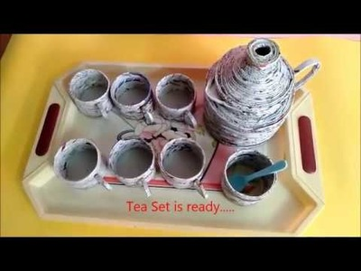 Tea Set -   Newspaper Craft - DIY Craft. How to make Newspaper Tea SET