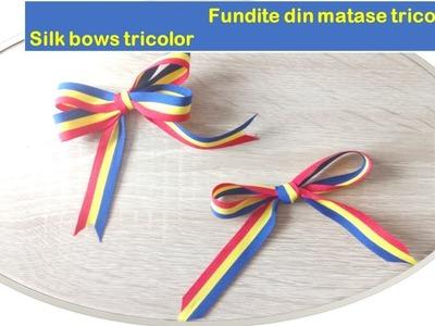 #tutorialetricolore  Fundite din matase TRICOLORA    - Silk bows Tricolor - Easy bow -Tutorial.DIY