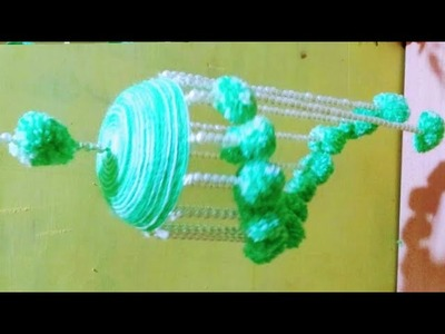 Wind chime.wall hanging useing woolen.room decorate idea.craft idea out of woolen.Krishna tutorial