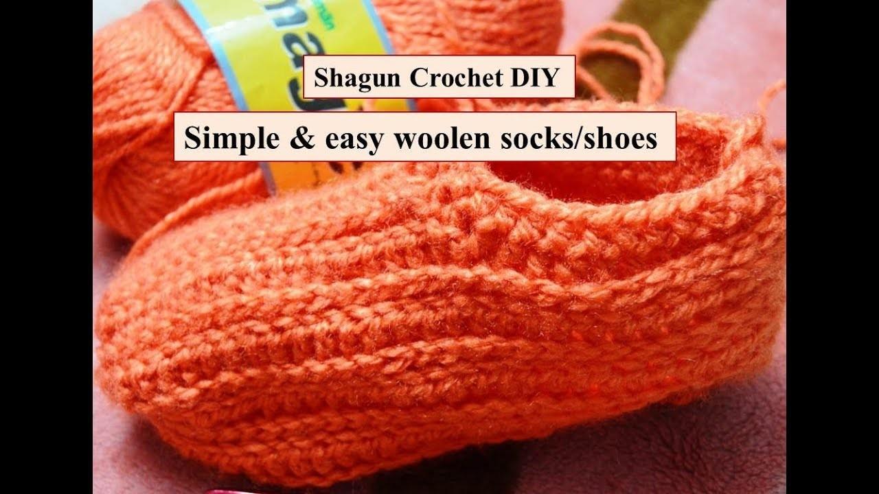 #2 how to crochet easy woolen socks.shoes (in Hindi). beginner crochet