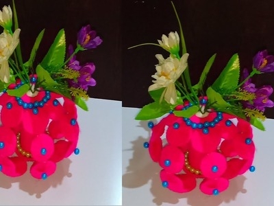 Awesome Flower Vase Making With Woolen.Best Out Of Waste Idea.DIY Innovative Ideas Of Flower Vase