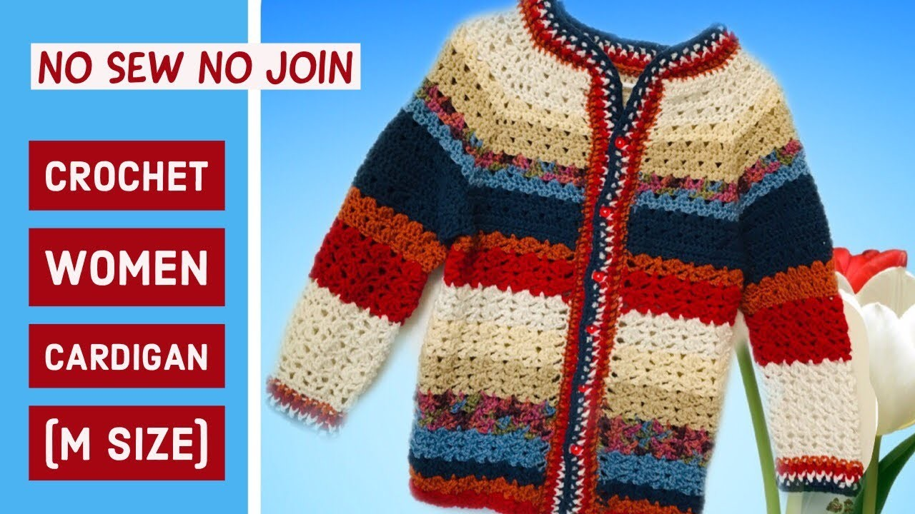 Crochet no sew no join women.adult cardigan.sweater(m) size(Part 1) - Tamil version