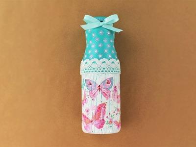 Decoupage bottle - Painted bottle - Decoupage tutorial - DIY decoupage - Do It Yourself