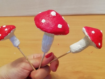 DIY a Mushrooms from paper clay