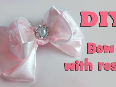 DIY Bow with roses. Tutorial kanzashi