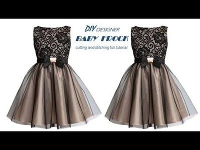 DIY Designer Net baby frock cutting and stitching Full Tutorial