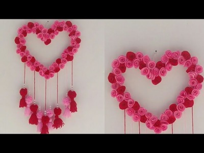DIY heart shape wall hanging decor. wall hanging  decor with paper. room decor.Thasni DIY d7