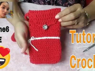 DIY- How to Crochet iPhone6 case Red and White, iPhone6 case Tutorial by Handmade.
