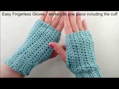 Fingerless Gloves worked as one piece including the cuff - crochet tutorial