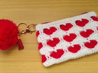 How to Crochet a Heart Stitch Purse (with zipper and compartment)