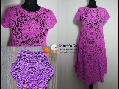How to crochet purple dress with flowers tutorial and pattern by marifu6a