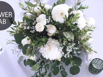 How to make flower arrangement   DIY white wedding bouquet