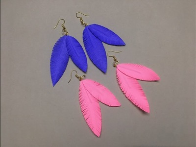 How to make Paper Feather Earrings Easily At Home | Feather Earrings DIY