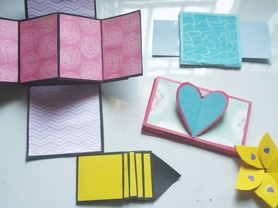 How to make Scrapbook Pages.  5 different Cards Ideas. DIY Scrapbook Tutorial Part three