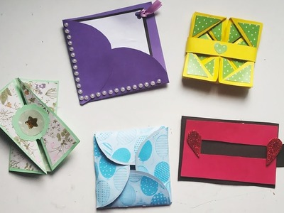 How to make Scrapbook Pages.  5 different Cards Ideas. DIY Scrapbook Tutorial Part Two
