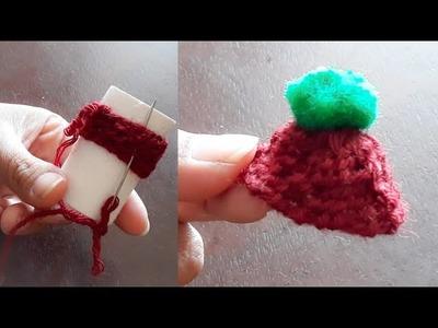 No knit No crochet Woollen Cap for Laddu Gopal|Woollen Cap making using Empty Tape Roll|Quicky Craft