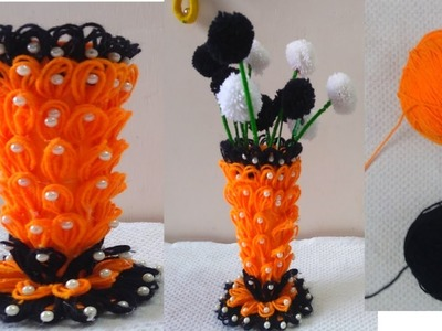 DIY || Amazing Flower Pot.How to Make Flower Vase With Woolen.Innovative  Creative Ideas 2019