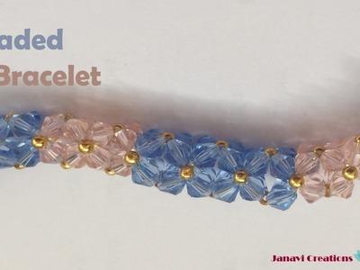 DIY Crystal Bracelet | How to make beaded bracelet | DIY Beaded Bracelet | Janavi Creations